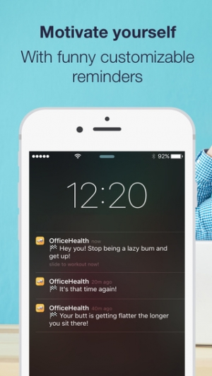 iPhone、iPadアプリ「Daily office workout reminders & exercises to stay healthy and relieve stress with HealthKit by OfficeHealth」のスクリーンショット 4枚目