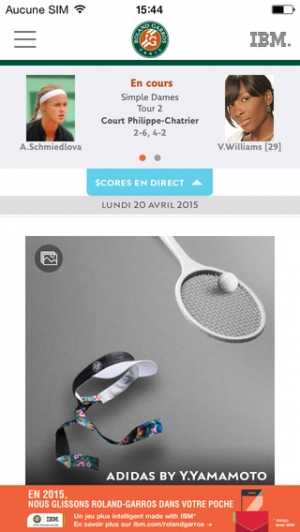 iPhone、iPadアプリ「Application officielle du tournoi Roland-Garros 2015」のスクリーンショット 1枚目