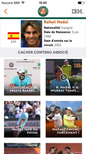 iPhone、iPadアプリ「Application officielle du tournoi Roland-Garros 2015」のスクリーンショット 3枚目
