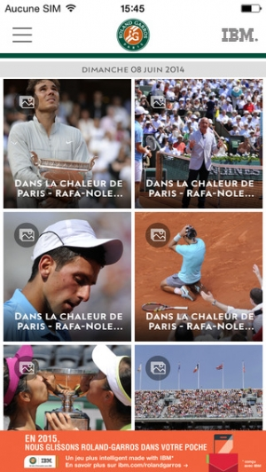 iPhone、iPadアプリ「Application officielle du tournoi Roland-Garros 2015」のスクリーンショット 4枚目