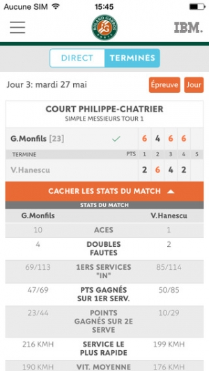 iPhone、iPadアプリ「Application officielle du tournoi Roland-Garros 2015」のスクリーンショット 2枚目