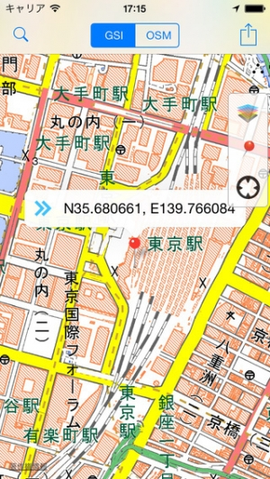 iPhone、iPadアプリ「GSI Map++(地理院地図++)」のスクリーンショット 1枚目
