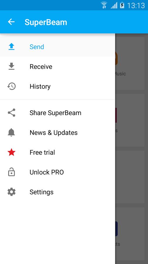 「SuperBeam | WiFi Direct Share」のスクリーンショット 1枚目