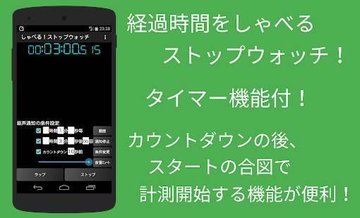 「しゃべる!ストップウォッチ&タイマー~音声通知の無料アプリ」のスクリーンショット 1枚目