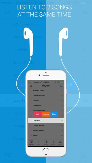 「Dual Music Player - Free Music Player with ability to play 2 songs at the same time」のスクリーンショット 1枚目