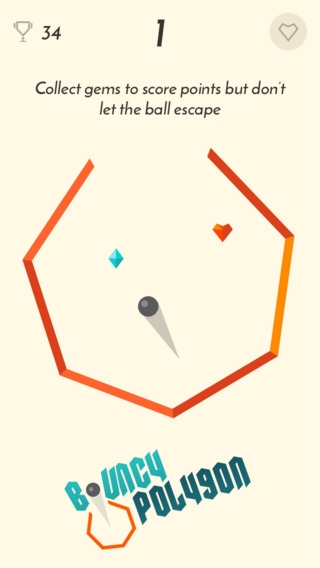 「Bouncy Polygon - Don't let the ball escape」のスクリーンショット 1枚目