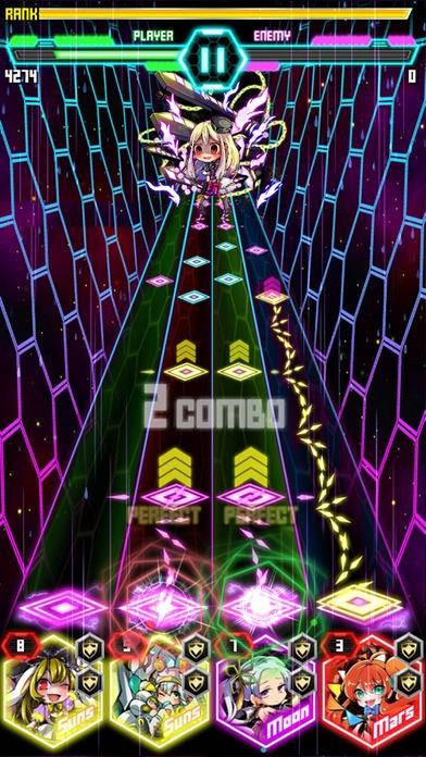 「爽快音ゲー!コスモガールノーツ-簡単タップで音ゲーム!」のスクリーンショット 2枚目