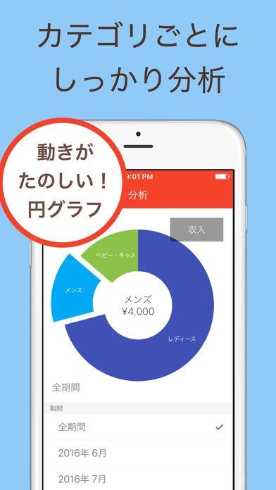「フリメモ - フリマの売上管理アプリ 無料 簡単 メルカリ フリル ミンネ ラクマにも対応」のスクリーンショット 2枚目
