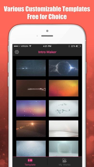 「イントロメーカー - ビデオのイントロの編集アプリ for Youtube & iMovie」のスクリーンショット 1枚目