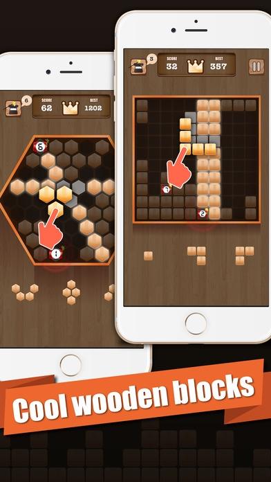 「Wooden 100 Block - Hexa Puzzle Logic Mania」のスクリーンショット 1枚目