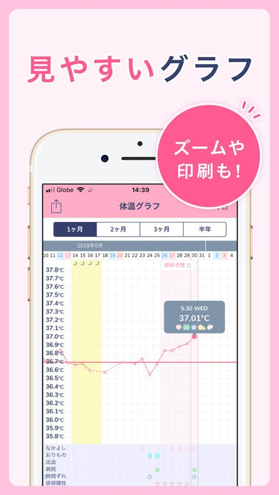「シンプル基礎体温:生理管理や排卵日予測の人気の基礎体温グラフ」のスクリーンショット 2枚目