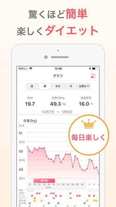 「シンプルな体重管理でダイエット:体重記録アプリ」のスクリーンショット 1枚目