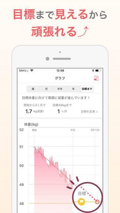 「シンプルな体重管理でダイエット:体重記録アプリ」のスクリーンショット 2枚目
