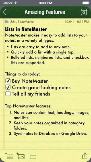 「NoteMaster Lite - Amazing notes synced with Dropbox or Google Drive」のスクリーンショット 2枚目