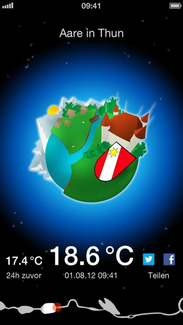 「Aare - Schwimm Wetter Temperatur?」のスクリーンショット 2枚目