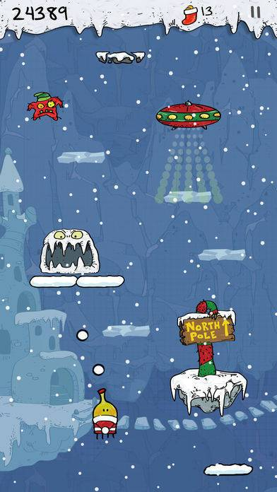「Doodle Jump Christmas PLUS」のスクリーンショット 1枚目