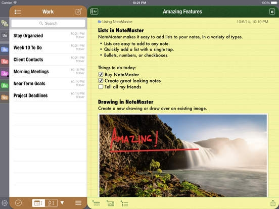 「NoteMaster Lite for iPad - Amazing notes synced with Dropbox or Google Drive」のスクリーンショット 2枚目
