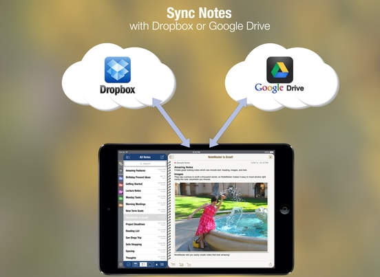 「NoteMaster Lite for iPad - Amazing notes synced with Dropbox or Google Drive」のスクリーンショット 3枚目