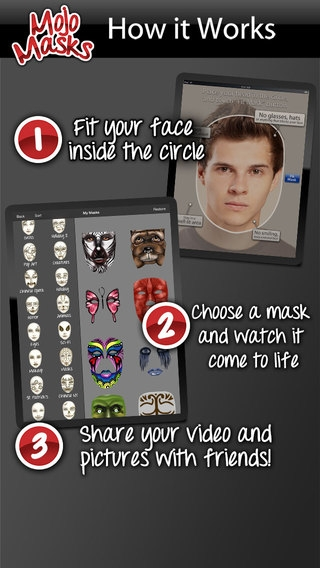 「Mojo Masks - Add Fun Face FX to your photos/videos and share」のスクリーンショット 1枚目