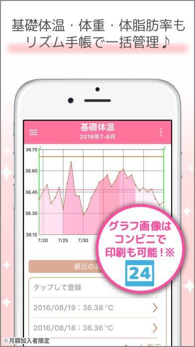 「リズム手帳 ー 生理日を簡単管理」のスクリーンショット 3枚目
