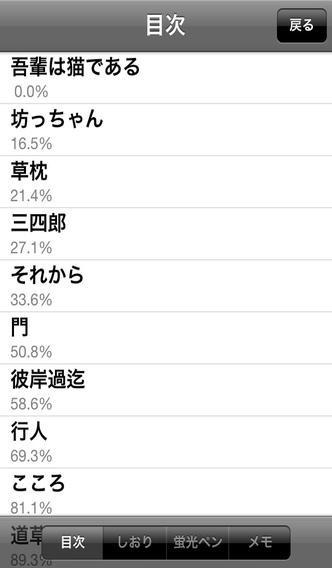 「夏目漱石 名作集」のスクリーンショット 2枚目