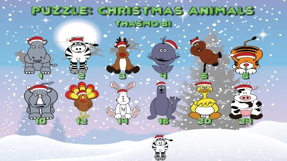 「Puzzle: Christmas animals for toddlers」のスクリーンショット 1枚目
