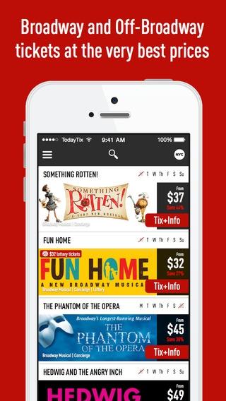 「TodayTix – New York Theater Tickets App (Broadway & Off-Broadway Shows)」のスクリーンショット 1枚目