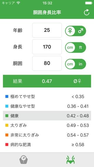 「ボディマス指数計算機 - 体重管理:あなたの理想的な体重とウエストのサイズを見つけるためにあなたのボディマスインデックスとウエストと高さの比を計算します。」のスクリーンショット 2枚目