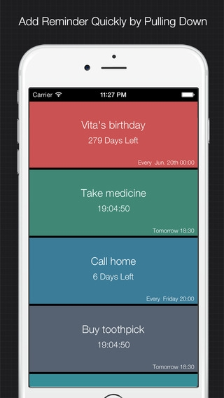 「XReminder - simple & quick reminder to set alarm for important things」のスクリーンショット 1枚目