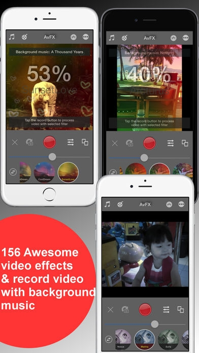 「AvFX - awesome video effect, editor & background music edit for Instagram, Facebook, Youtube, Vine」のスクリーンショット 1枚目