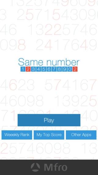 「Same number - 9つの数字から同じ数字を選ぶだけのシンプル脳トレパズルゲーム 集中力を高めて脳を活性化」のスクリーンショット 1枚目