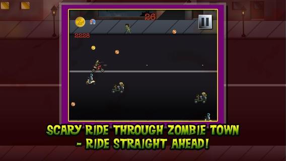 「デッドストレートグローリーに乗る - アヘッドエンドレス悪ゾンビの大群の侵入の維持 - 無料バイクシューティング·レース -  iPhone / iPadアプリ版」のスクリーンショット 1枚目