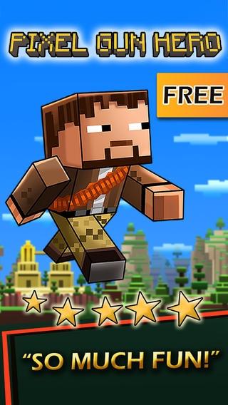「Super Pixel Pistol Hero vs. Monsters - A Block World Survival Game Free」のスクリーンショット 1枚目
