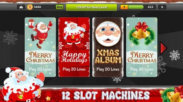 「サンタのクリスマススロット - プロジョリーカジノスロットマシンのゲーム」のスクリーンショット 1枚目