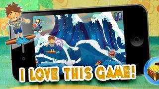 「ワイプアウトサーファーの男スプラッシュダッシュ:シャークアイランドでの冒険に乗ってパーフェクトリップタイドサーフウェーブ -  FREE」のスクリーンショット 1枚目
