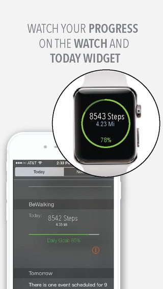 「BeWalking - Step counter, walking history tracker for the iPhone 5S, 6 and 6 Plus」のスクリーンショット 3枚目