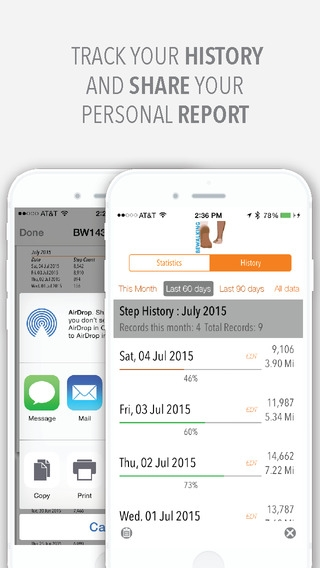 「BeWalking - Step counter, walking history tracker for the iPhone 5S, 6 and 6 Plus」のスクリーンショット 2枚目