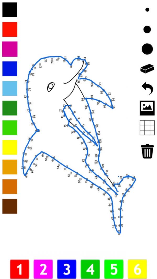 「子どもたちのための番号でペイント。 塗り絵、動物、船舶、航空機およびそれ以上とドット、ゲームや演習を接続します。学ぶためのゲームやパズル、塗料や カウント」のスクリーンショット 1枚目
