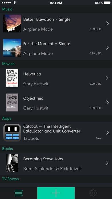 「Mentio - App Movie Music Book Wish List」のスクリーンショット 1枚目