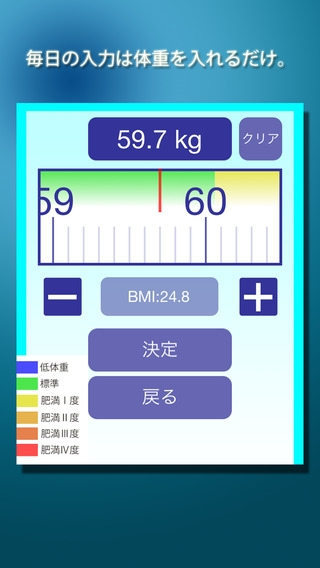 「かるさにっき - ダイエットの基本、毎日の体重の記録管理を簡単・楽しくするアプリ」のスクリーンショット 3枚目