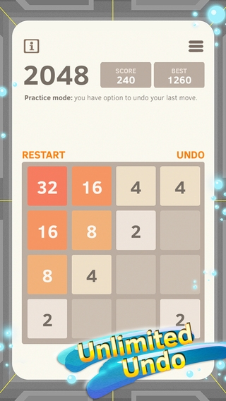 「2048 Number Puzzle game + Best 2048 app with unlimited undo feature, 5x5 mode, time survival mode plus #1 multiplayer」のスクリーンショット 1枚目