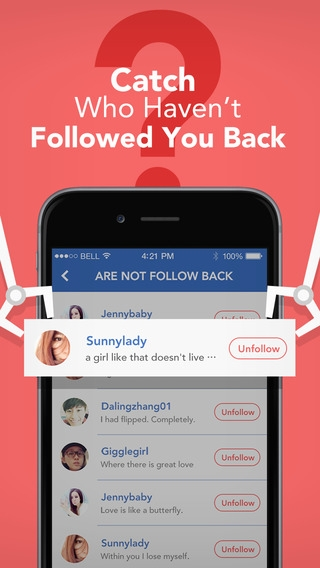 「Followers Tracker for Instagram - free follow and unfollow tracker」のスクリーンショット 2枚目
