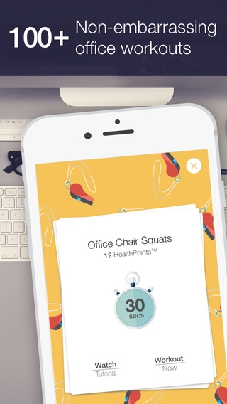 「Daily office workout reminders & exercises to stay healthy and relieve stress with HealthKit by OfficeHealth」のスクリーンショット 2枚目