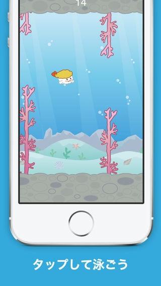 「[ほっこり] Flappy Shirmp - 音楽に癒やされるカジュアルゲーム」のスクリーンショット 2枚目