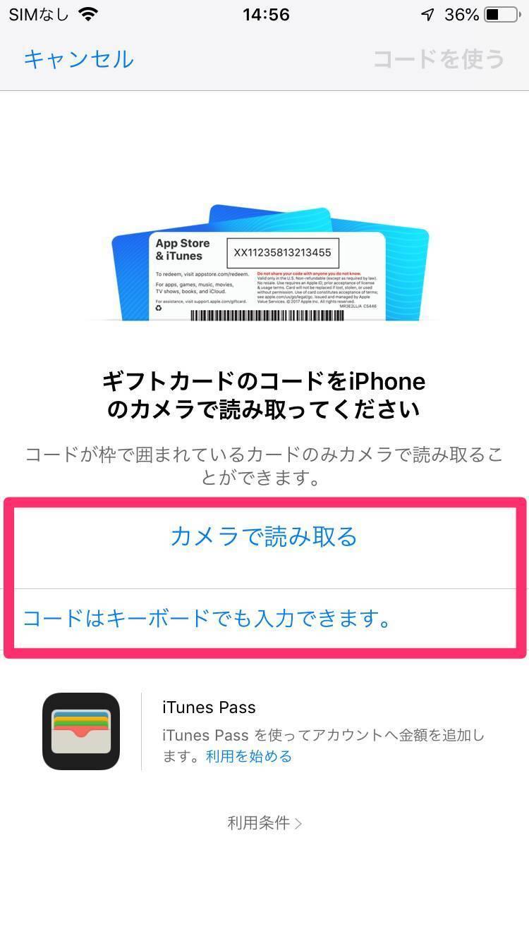 App Storeのギフトコード読み取り画面