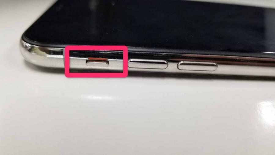iPhone サイレントモード切り替えボタンの画像