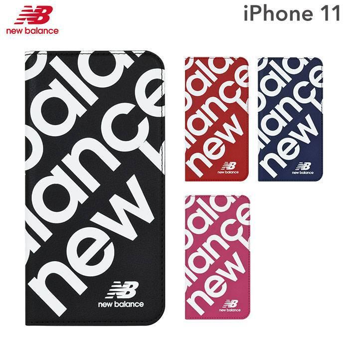 [iPhone 11]New Balance/ニューバランス スリム手帳型ケース スタンプロゴ