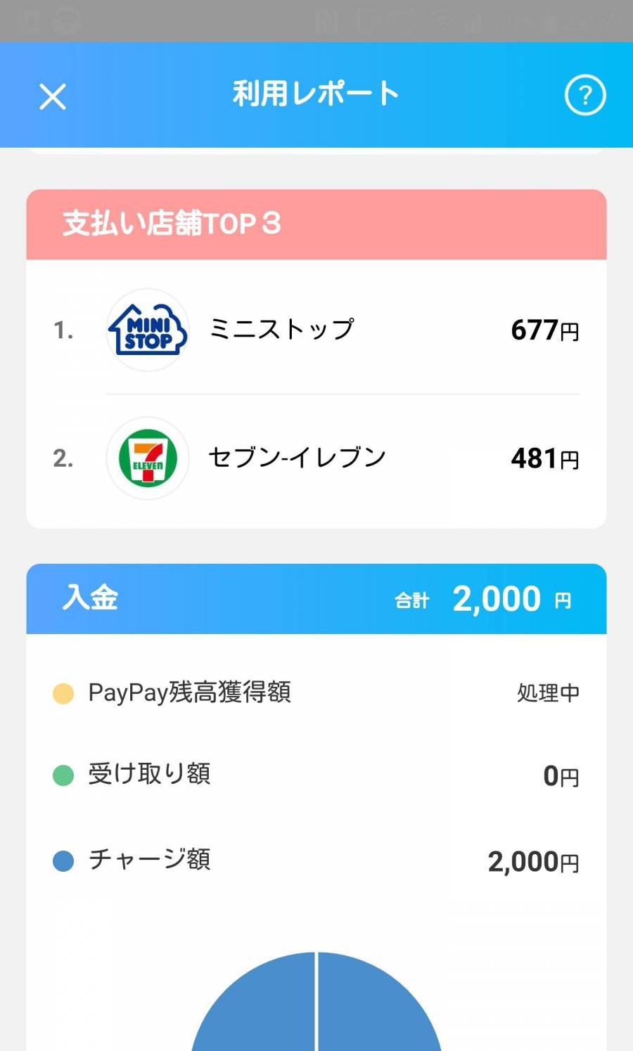 『PayPay』アプリ、利用レポート(支払い店舗TOP3・入金)画面
