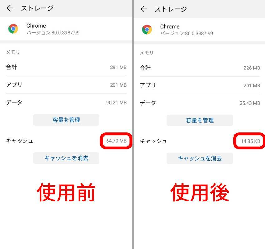 AndroidのChromeのキャッシュ削除前後の比較画像