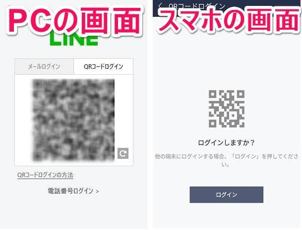 QRコードログイン用のQRコードとログイン画面